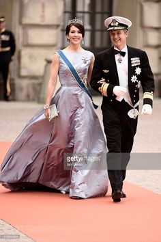 -June 13,2015-Crown Prince Frederik of Denmark and Crown Princess Mary Of Denmark attend the royal wedding of Prince Carl Philip of Sweden and Sofia Hellqvist at The Royal Palace on June 13, 2015 in Stockholm, Sweden.