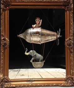 Art doll with Elephant, Found object art, Steampunk Zeppelin, Junk art, Aircraft by StorydiToy on Etsy