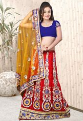 Red and Mustard Net and Jacquard Lehenga Style Saree With Blouse