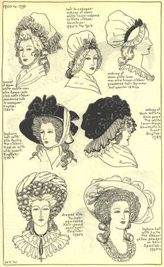 Ladies Hats, 1700-1795