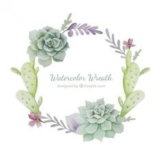 Watercolor wreath with cactus