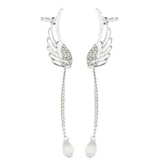 Brilliant quality Angel Wing Silver Plated Crystal Chain Drop Dangle Ear Cuff Stud Clip Earrings for Girl