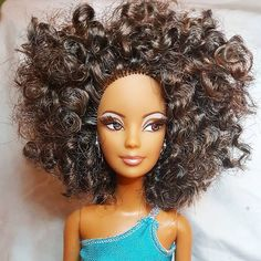 The results are in! This look was achieved with a bobby pin set! (see previous post) Dip in boiling water, allow to dry unravel, snip straight ends off, style! BOOM fabulous fro!!! #doll #barbie #restore #dollstagram #dollcollector #dollcollection #dress #fashion #naturalhair #afro #aadoll #africanamerican #custombarbie #curlyhair #blackdoll #curls #beauty #fro #dollphotography #instadoll #dollmodel