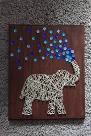 Elephant String Art by ComePaintAway on Etsy - The Crafting Room String Art Diy, String Crafts, Cute Crafts, Crafts To Do, Arts And Crafts, Arte Linear, String Art Patterns, Pattern Art, Wood Art