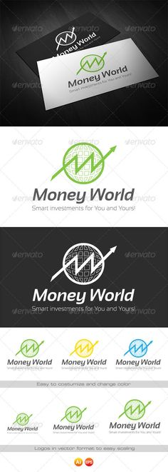 Buy Money World - Logo for Finance by bwebdesign on GraphicRiver. Money World Logo template is designed especially for companies related to finance and any other business related to i. Logo Design Template, Logo Templates, App Design, Icon Design, Logo Branding, Branding Design, Logos, Money Logo, Arrow Logo