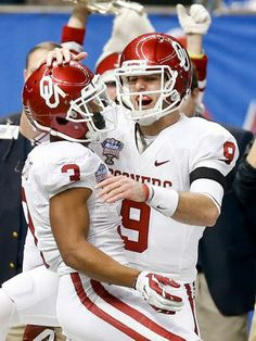 Trevor Knight (9) and Sterling Shepard (3) celebrate an OU victory over 'Bama. Sooner magic <3
