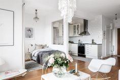 Gravity Home — Scandinavian studio apartment Small Apartment Layout, Apartment Goals, Apartment Living, Apartment Ideas, Studio Apartment Decorating, Apartment Interior, Apartment Design, Studio Living, Home Living