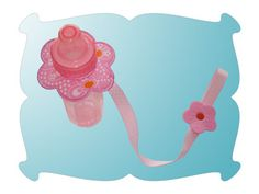 Flower and Ladybug Bottle Leash ~ The Bottle Leash, made In The Hoop,  fits standard sized baby bottles that are 4 ounces (short ones) and 8 ounces (tall ones). The Bottle Leash is 15.5 inches long.