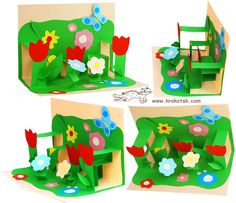 Paper Pop Up Interior Kids Crafts, Easter Crafts, Best Mothers Day Gifts, Mothers Day Crafts, 3d Cards, Pop Up Cards, Spring Art, Spring Crafts, Elementary Art