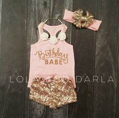 Birthday Babe Infant baby tank top in gold by LolaandDarlaDesigns