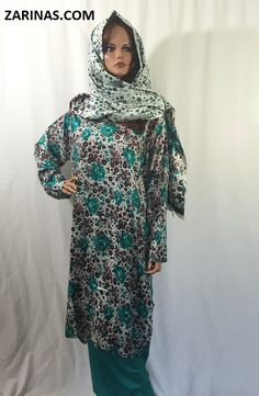 Sobia Women's Perahan Tunbaan.  Stylish and comfortable women's style salwar kameez, or perahan tunbaan. Made from a soft, light weight, and floral fabric. The style fits loosely, making it a modest, knee length style. Comes with matching pants and head scarf. Typically worn by Muslim women in Afghanistan, Pakistan, and other countries in South East Asia.  Available in only one size: Large