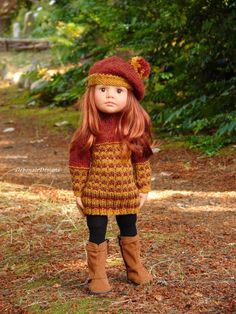 OOAK Hand-Knit Fall Sweater Dress for Gotz Happy Kidz dolls by Debonair Designs #DebonairDesigns