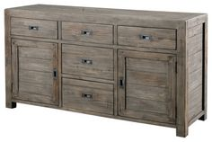 Rustic textures, modern lines | Post & Rail Sideboard 5 Drawer/2 Door, Sundried Ash - eclectic - dressers chests and bedroom armoires - Masins Furniture
