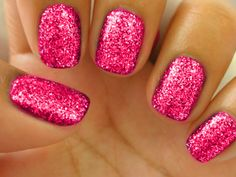 I love pink sparkle nails.