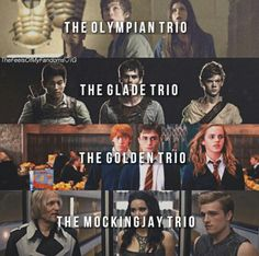 Percy Jackson - The Olpympian trio | The Maze Runner - The Glade trio | Harry Potter - The Golden trio | The Hunger Games - The Mockingjay trio | Fandoms <<< I thought Thomas, Newt, and Minho are the Ivy Trio???