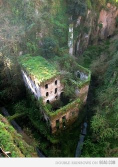 Sorrento, Italy.You could see it in the gorge as you crossed a bridge, but there was no way to get to it.