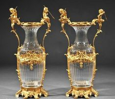 BACCARAT CRYSTAL AND GILT BRONZE VASES