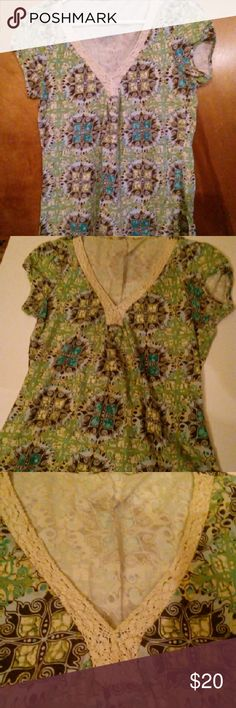 Crocheted Vneck Tribal hippie blouse Awesome design and fit! Tops Blouses