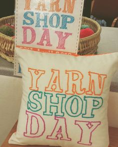 Our Free-Motion Couched Cushion for Yarn Shop Day 2016! #freemotion #couching #yarnshopday #cushion #yarn #sewing