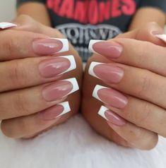 French Tip Acrylic Nails, White Tip Nails, French Manicure Nails, French Manicure Designs, Best Acrylic Nails, Nail Art Designs, Gel Nails, White Nail, Nail Polish