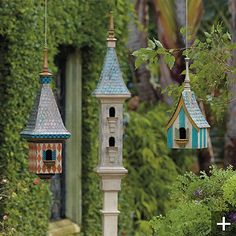 Victorian Birdhouse Collection - eclectic - birdhouses - - by FRONTGATE Birdhouse Post, Birdhouse Craft, Birdhouse Designs, Birdhouse Ideas, Decorative Bird Houses, Bird Houses Diy, Fairy Houses, Eclectic Birdhouses, Victorian Birdhouses