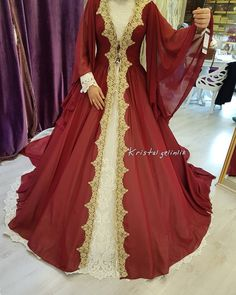 Our wedding dresses on our caftan model .- Our wedding dress caftan model - Kaftan, Turkish Wedding Dress, Old Dresses, Formal Dresses, Attractive Eyes, Arab Fashion, Mode Hijab, Bridal Looks, The Dress