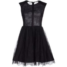 Alice+olivia Short Dress (360 BRL) ❤ liked on Polyvore featuring dresses, black, short dresses, lacy dress, sleeveless dress, alice olivia dress and mini dress