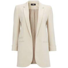 Stone Longline Blazer (225 BRL) ❤ liked on Polyvore featuring outerwear, jackets, blazers, long blazer, long length blazer, longline blazer, long line blazer and long blazer jacket