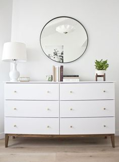 to Make an Ikea Dresser Look Like a Midcentury Splurge How to turn a simple Ikea dresser into a mid-century beauty! A simple Ikea hack!How to turn a simple Ikea dresser into a mid-century beauty! A simple Ikea hack! Hack Commode Ikea, Ikea Tarva Dresser, Ikea Dresser Makeover, Ikea Chest Of Drawers, Dresser Makeovers, Room Makeovers, Dresser Drawers, Cheap Furniture, Home Furniture
