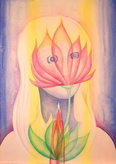 """Simha"" by Don Sinish, Essex, MD // watercolor  Simha is a spiritual master that I have seen and worked with beginning around 2004-5.  She is called the Mother of all the Eck masters.  She is very gentle and soft, to make one comfortable.   This is the way of all with truly great power.  Such a one has no need to display their power,... // Imagekind.com -- Buy stunning, museum-quality fine art prints, framed prints, and canvas prints directly from independent working artists and photographer..."