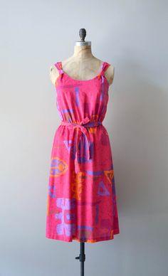 vintage 80s dress / abstract 1980s sundress / Summer by DearGolden, $48.00