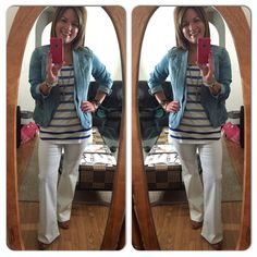 Day #5 of CAbi Lookbook Style Challenge....I'm On the Move with White Wide Leg Jean, Wide Stripe Tank and Jeanie Jacket...weather actually cooperated today since snow/rain was in forecast