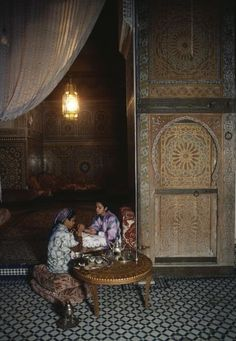 Morocco Fez. Palace of Mokri. Woman getting her hand decorated with henna. 1984
