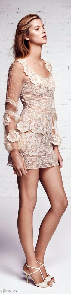 """Blumarine Resort 2016 - sweet styling for the beach, or paired with some shorts or jeans. So versatile, and the lace, which morphs into several different patterns, brings this top """"over-the-top."""" jannastyleblog.com"""