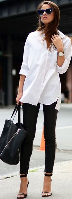 New travel outfit business white shirts Ideas - Travel Outfits White Blouse Outfit, Bluse Outfit, White Shirt Outfits, White Shirts, White Blouses, Outfit Jeans, Black Blouse, Moda Outfits, Trendy Outfits