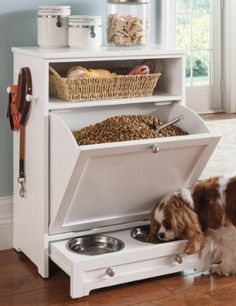 Enjoy the convenience of food, leash, and toy storage, plus a feeding station, all in one!  - have this! Totally need a basket.