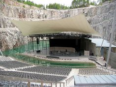 Dalhalla Arena, a former limestone quarry, now turned into an amphitheatre used as a summer music venue in central Sweden