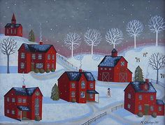 Little Red Village Folk Art Painting by Mary Charles Prints available at Fine Art America Primitive Painting, Primitive Folk Art, Henri Rousseau, Canvas Art, Canvas Prints, Art Prints, Naive Art, Winter Art, Christmas Art