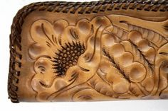 Vintage Hand Tooled Leather Wristlet by ELOFSON on Etsy