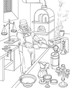Profession by Anton Batov, via Behance Colouring Pages, Printable Coloring Pages, Adult Coloring Pages, Coloring Sheets, Farm Pictures, Pictures To Draw, Crayon Painting, Vintage Coloring Books, Bujo Doodles