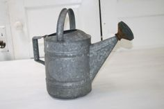 Vintage Watering Can Galvanized Round Sprinkler Head on Spout End 10