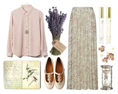 """""""Lavender Fragrance"""" by misisilly ❤ liked on Polyvore featuring Chie Mihara, Marc Jacobs, ATTIC AND BARN, Equipment, Olive, Moleskine and Forever 21"""