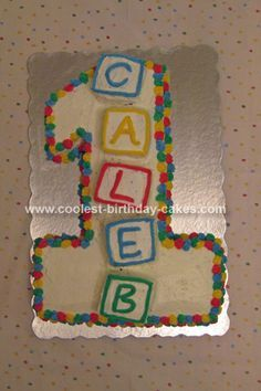 Homemade 1st Birthday Cake: When my son turned 1 year old, I wanted to make him a special 1st Birthday Cake that featured the number 1.  I baked a 12x18 sheet cake, then cut out the