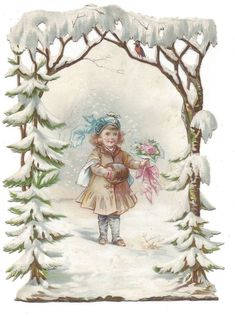 Victorian Die Cut Scrap Card of Girl with her Valentine Bouquet