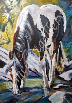 Artist: Kratimenou Konstantina Title: at the source acrylic Joomla Templates, Fingerprints, Moose Art, Gallery, Artist, Animals, Animales, Animaux, Animais