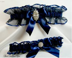 This is a beautiful navy blue wedding garter set. There is one for you to keep and one for you to toss. Both garters are made with sheer Autumn Wedding, Blue Wedding, Dream Wedding, Gothic Wedding, Garter Belt Wedding, Rhinestone Wedding, Blue Garter, Something Blue, Wedding Accessories