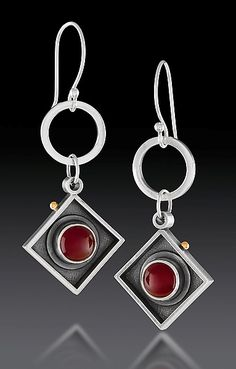 Hanging Squares with Orange by Michele LeVett: Gold, Silver & Stone Earrings…