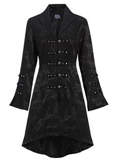 62d2d893ba6 Pretty Attitude Schwarzer viktorianischer Damen Gothik Mantel Jacke mit  Schnürung am Rücken Gr. XL