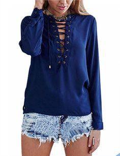 Women s Sexy Front Cross Bandage Deep V Neck Chiffon Long Sleeve Blouse  Tops Shirt a7a9aa22e572