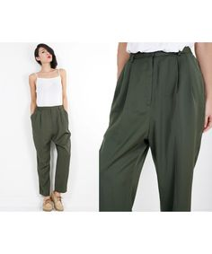 80s Vintage Military GREEN High Waisted Pleat Trousers Pants